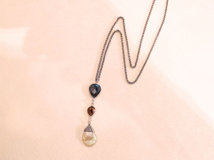Long stainless steel chain necklace - 60cm Pendant - Sterling Silver framed Labradorite stone, watermelon tourmaline, and wire worked Keshi pearl