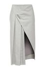 The Nepalese-American designer's signature athletic luxury is in full effect this season as he weaves in motifs and textures inspired by the alpine beauty of the Andirondacks. This **Prabal Gurung** skirt exudes cold weather elegance in fluid grey wool, fastened by a metal spike motif.