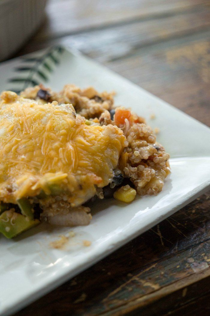 Busy week? Check out this easy healthy quinoa enchilada bake recipe for dinner