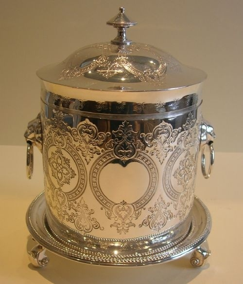 english silver plate plated biscuit barrel box cookie jar victorian engraved lion's handles