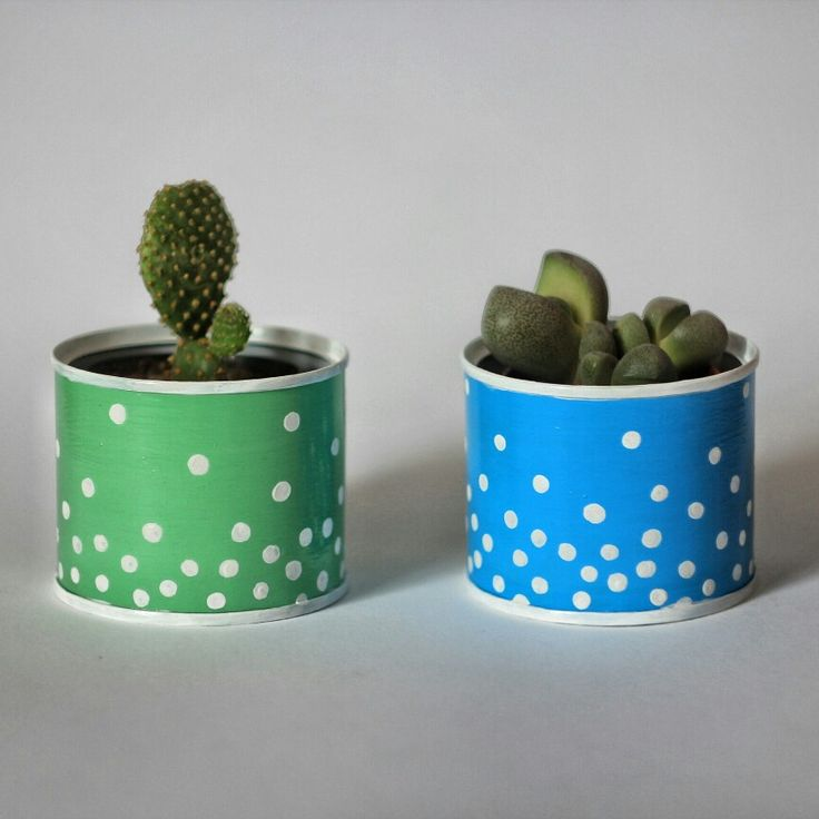 #can #design #painting #cactus #flowerpot #metal #vintage #succulent