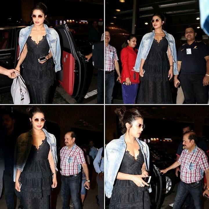 priyanka chopra Spotted at Mumbai airport to catch a flight to New York last night in a super stylish avatar!