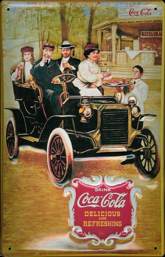 Coca Cola Pictures Vintage | COCA COLA ANTIQUE CAR Metal Pub Sign Vintage Retro Home Bar >