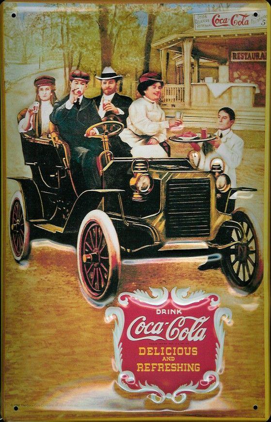 Coca Cola Pictures Vintage | COCA COLA ANTIQUE CAR Metal Pub Sign Vintage Retro Home Bar >