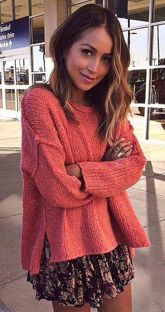 Coral side slit sweater & dress.