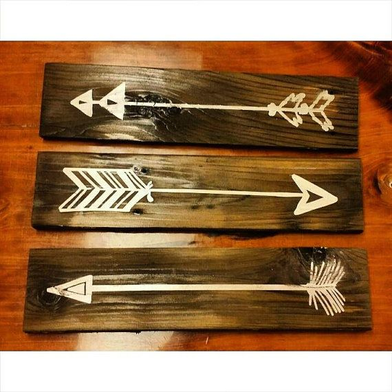 Rustic arrows 3.25x14 wooden signs. by Backporchsittin on Etsy
