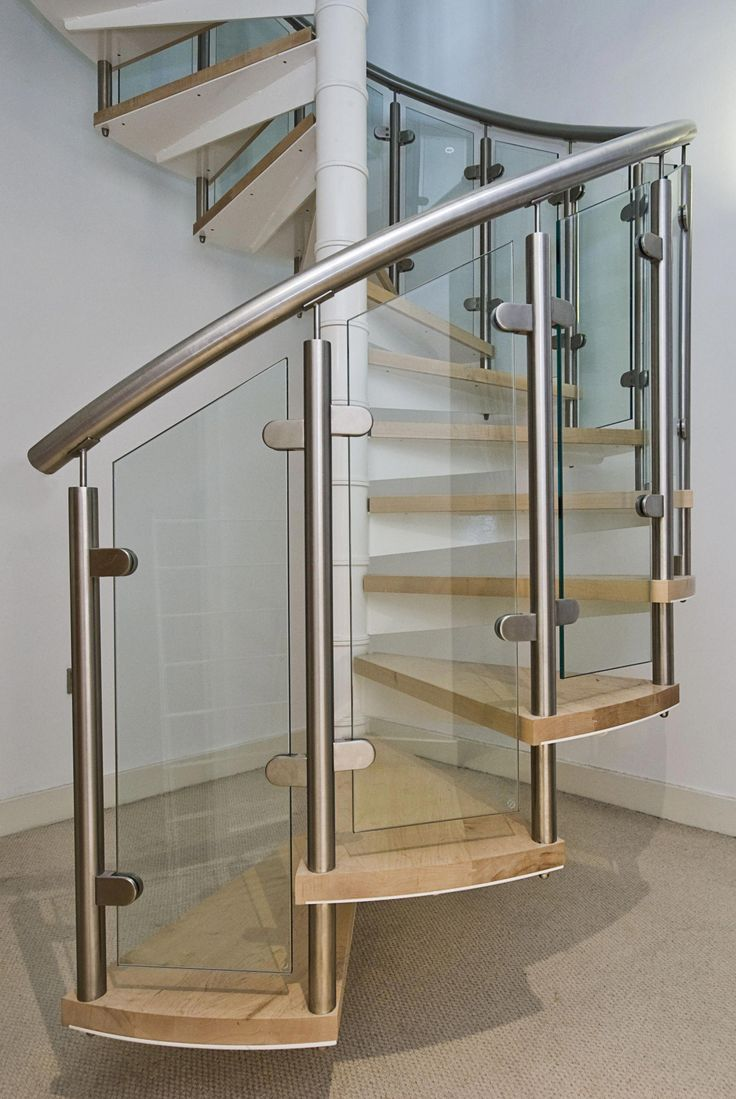 Best Close Up Of Modern Spiral Staircase With Wooden Steps With 400 x 300