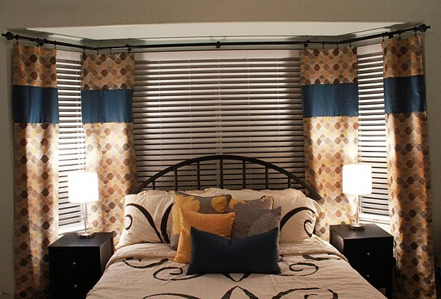 Yellow, Grey & Navy bedroom! That's our comforter set!