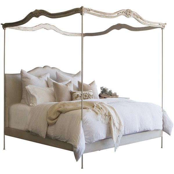 Silver Canopy Bed Frame Part - 43: Eloquence Aria Silver Leaf Upholstered Canopy Bed ($199) ? Liked On  Polyvore Featuring Home