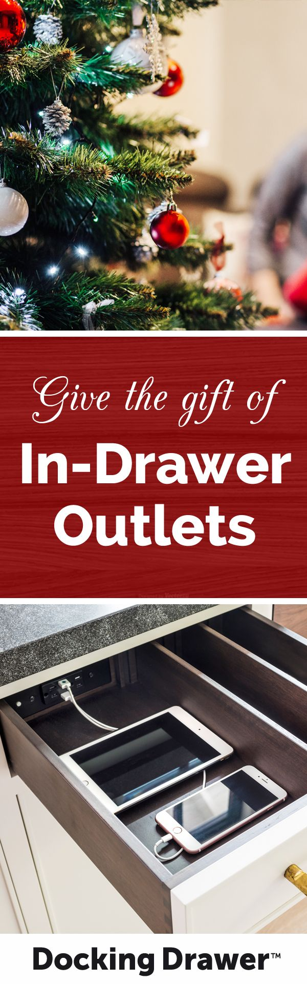 Give the gift of home organization and efficiency! Docking Drawer's safe, affordable in-drawer outlets can be easily installed by anyone, making them a perfect gift for the home. #InDrawerOutlets #DockingDrawer #Outlets