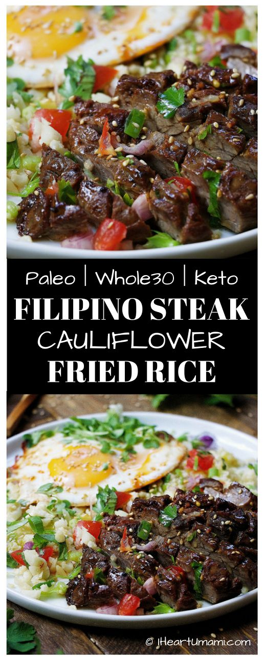 Paleo Filipino Skirt Steak Cauliflower Fried Rice ! Low carb cauliflower fried rice with gluten-free steak marinade pan seared in cast iron skillet. Add this easy healthy recipe to your Paleo, Keto, and Whole30 meal plan. Follow the link for quick video tutorial   print the recipe !  via @iheartumami