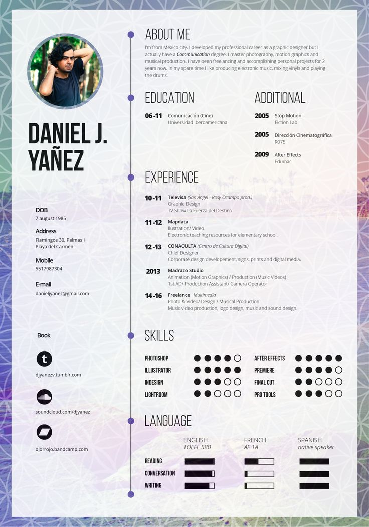 Daniel J. Yáñez : Photo  Motion Graphics Resume