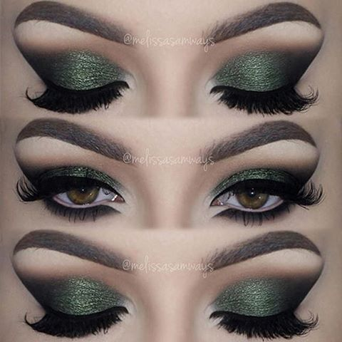 This Olive Green Smokey Cat Eye look by @melissasamways wearing her favourite Velour Lashes! #velourlashes