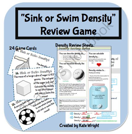 "Density Game:  I created this game to help my middle school science students review and practice their density calculation skills. This game gives students a chance for repeated practice in a fun, competitive format.   In this activity, students play a war-like game called ""sink or swim"" in order to practice using the formula for calculating density. It reviews how to calculate density when both the volume and the mass are provided."