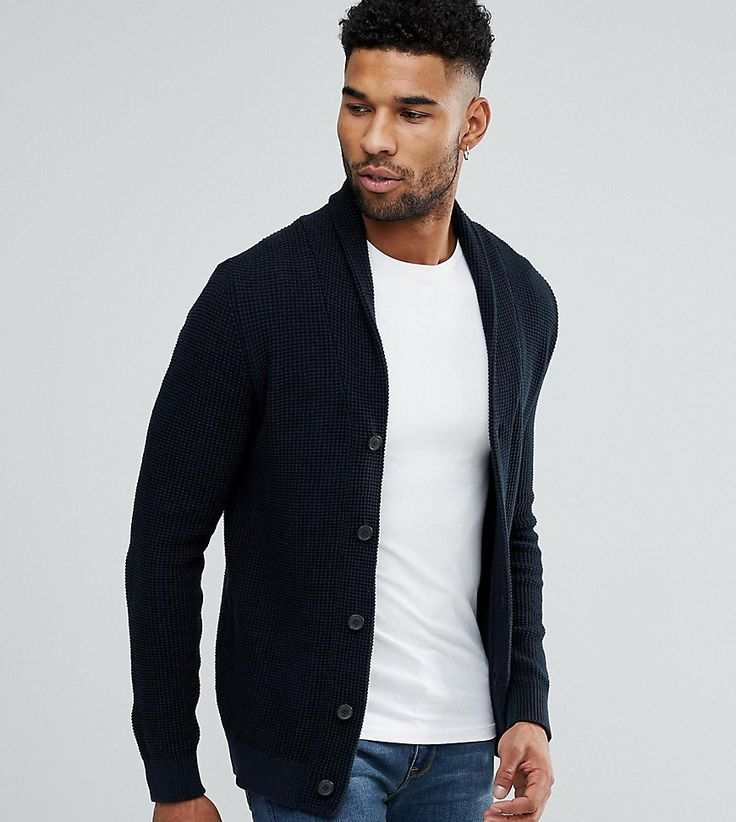 Selected Homme TALL Shawl Collar Cardigan - Navy