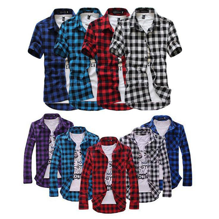 Chemise à carreaux hommes 5 couleurs S-XXL sans manches et avec manches