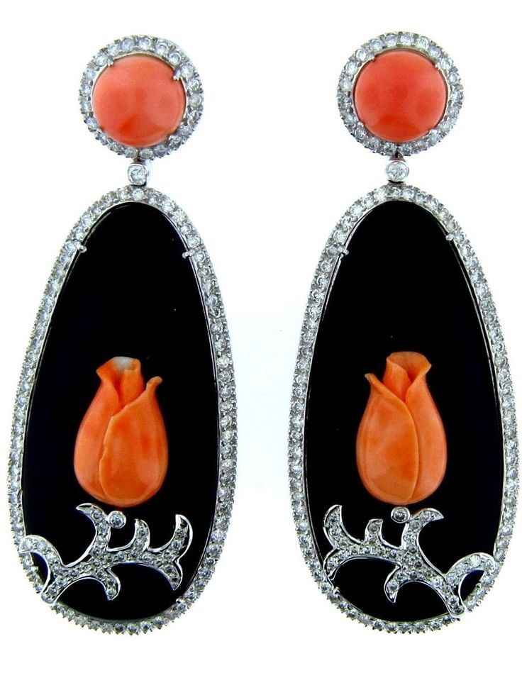 Onyx, Coral, and Diamond Art Deco Earrings