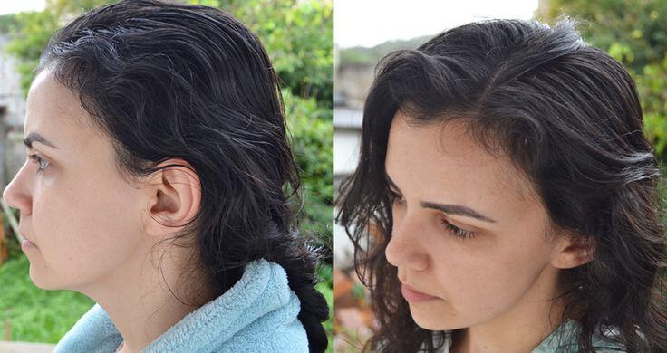 Lavagem com ovo, antes e depois. Antes, cabelo com umectação. Na foto do depois, meu cabelo não está 100% seco. Fez um dia chuvoso e úmido.