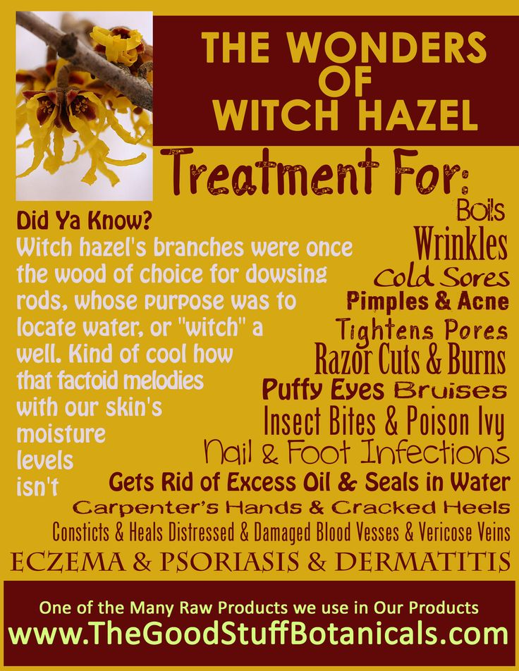 Wonderful uses for Witch Hazel!  I already use witch hazel as a treatment for my pores...now I will add it to my list of natural beauty and health options!  Check it out.