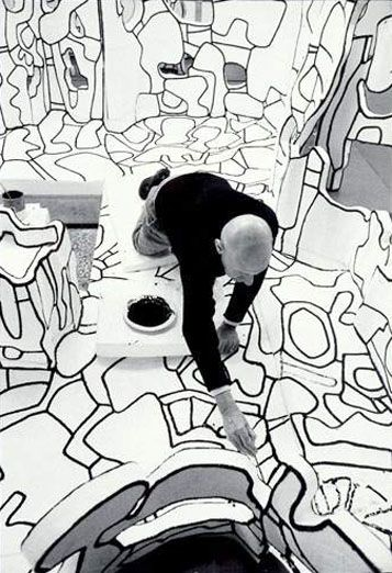 "Jean Dubuffet in his atelier, working on ""Site Scriptuaire II"", Paris 23 Feb. 1974 -by Kurt Wyss"