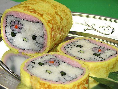 Egg wrapped, wonderfully detailed Hello Kitty Sushi.