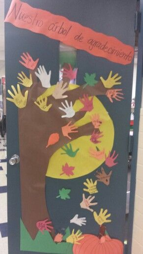 My class Thankful tree! Good to do during Thanksgiving! Nuestro arbol de agradecimiento!