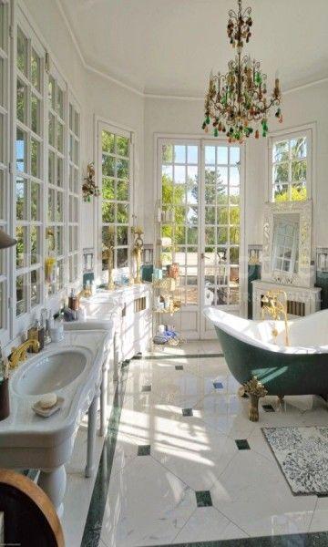 Marble #bathroom inside a Mediterranean mansion from the Belle Époque -  Cap-d'Ail, France