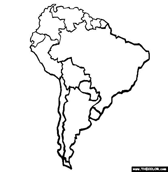 free coloring maps for kids | South America Coloring Page | Free South America Online Coloring