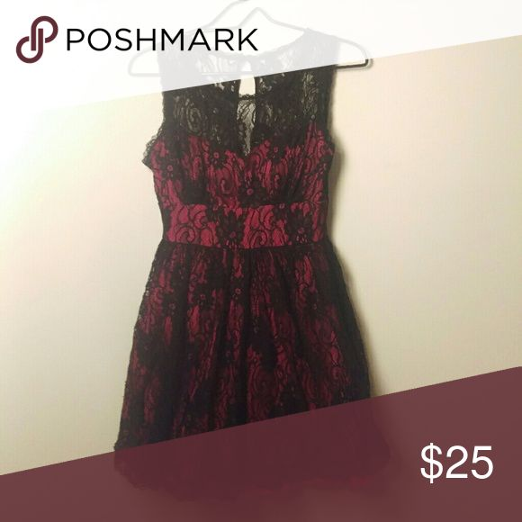 Black and pink lace dress Hot pink dress with black lace overlay  *10% off on bundles! Offers on single items always considered* 80s emo punk girly prom goth gothic scene rave raver rocker pinup retro 90s formal homecoming graduation B. Smart Dresses Mini