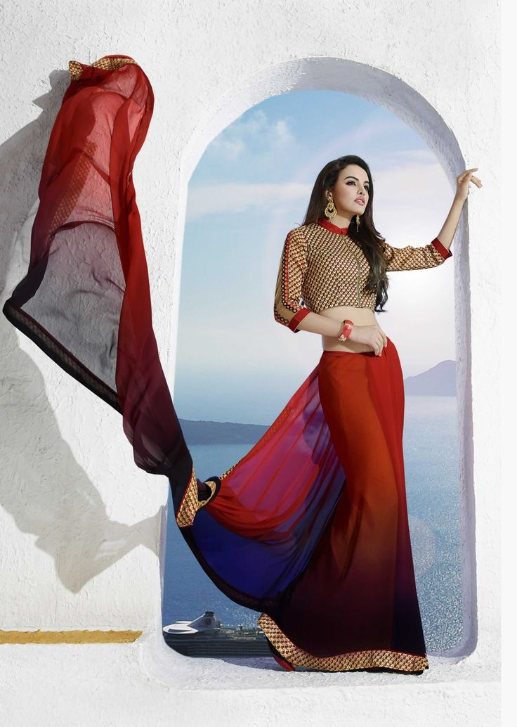 buy saree online Red and Brown Colour Georgette Printed Party Wear Saree Buy Saree online - Buy Sarees online