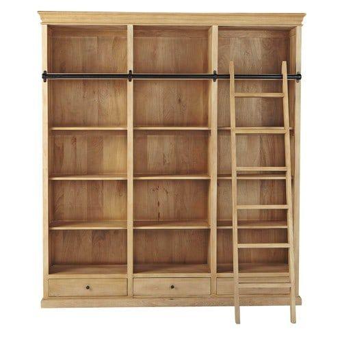 Bibliothèque avec échelle en manguier L 190 cm
