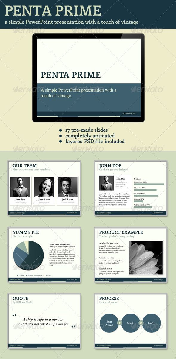 Penta Prime PowerPoint Template  #GraphicRiver        About Penta Prime Penta Prime is a powerful PowerPoint template with a touch of vintage. This theme has a nice and subtle color scheme that will attract the audience's attention. It's perfect for business or personal use. Features Penta Prime comes with 17 pre-made slides, such as: team members, pie charts, bar charts, a quote, process, etc. These slides are the perfect starting point for your own presentation.  The presentation is fully…