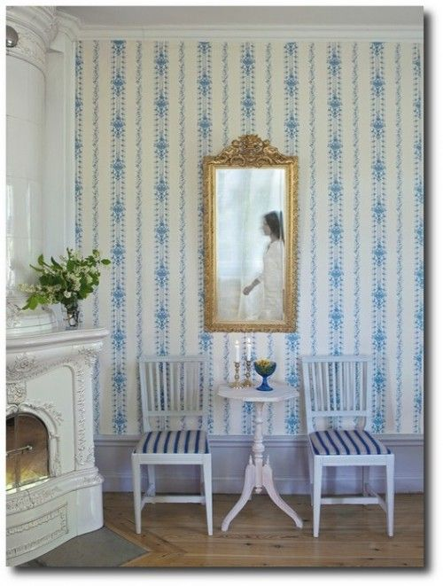 Gustavian Style - A Higher End looking Swedish style (vs Scandinavian Country Style). Swedish Wallpaper
