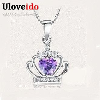 Find More Pendants Information about Crown Amethyst Pendants for Women Crystal Necklaces 925 Sterling Silver Vintage Flower Jewellery Princess Pendant Ulove XSJ001,High Quality necklace bib,China necklace tiger Suppliers, Cheap necklace chart from ULOVE Fashion Jewelry on Aliexpress.com