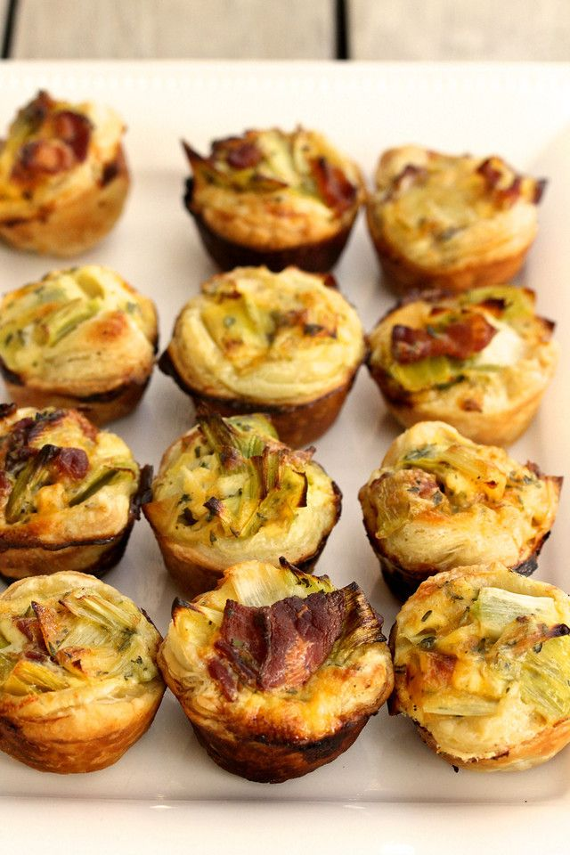 Bacon, Leek, and Cheddar Mini Quiches