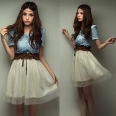 Fashion Women Ladies Denim Party Dress Retro Blue Coat White Skirt Top Gown With Free Belt