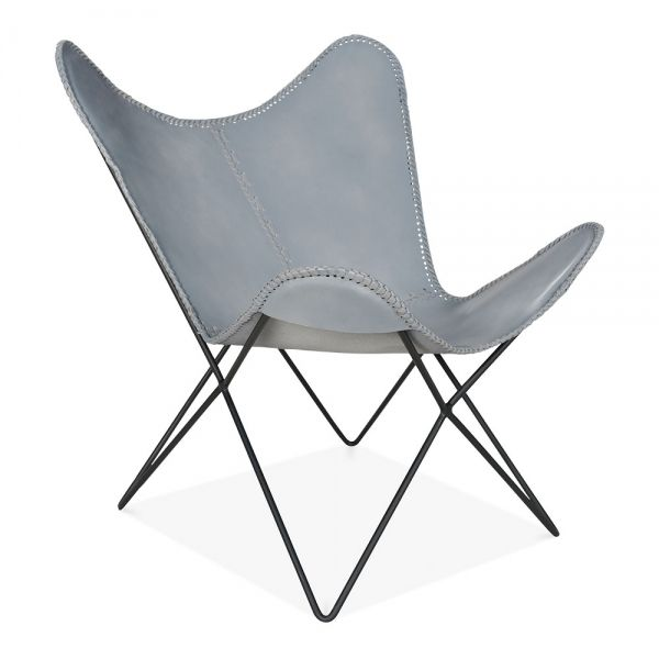 Grey Leather Xanthe Butterfly Chair | Modern Accent Chairs