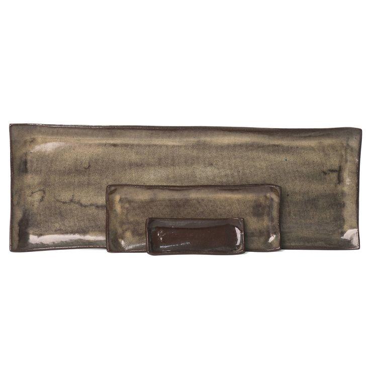 Iron Lustre Rectangular Platter Set