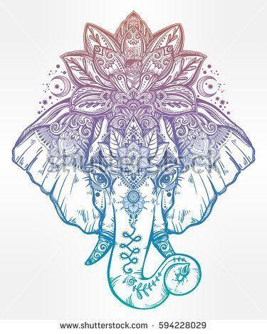 Vintage style vector elephant with with ornate lotus mandala crown, Ideal ethnic background, tattoo art, yoga, Indian, Thai, spirituality, boho design…