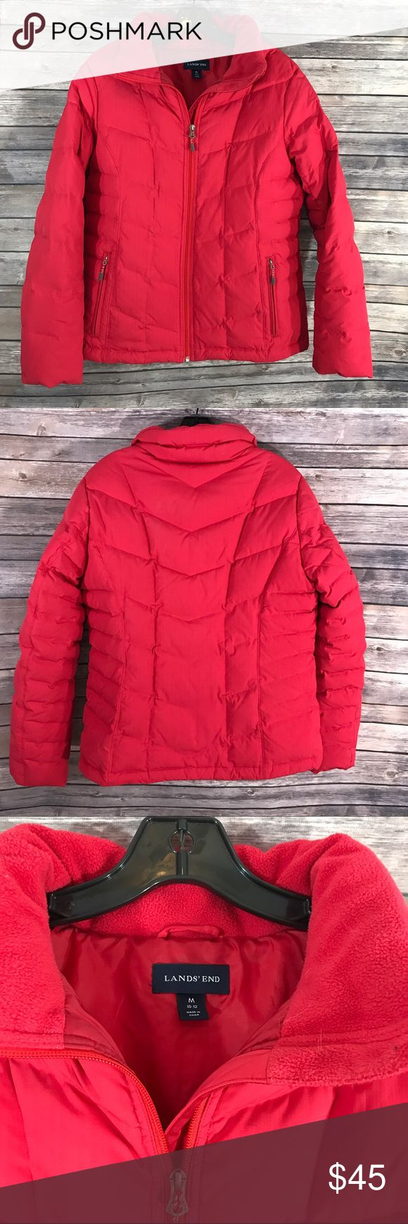 Lands End Size Medium 10-12 Womens Puffer Coat Red Measurements: (in inches) - Underarm to underarm: 21 - Length: 26 - Sleeve:24 Good, gently used condition Lands' End Jackets & Coats Puffers
