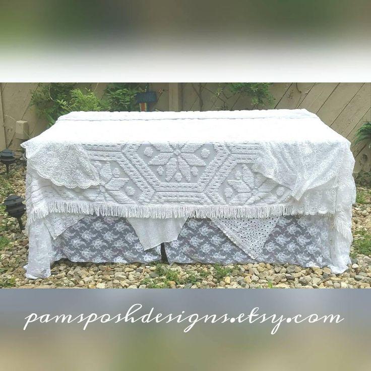 Rustic Wedding Tablecloth 8 x 10' White Wedding Decor Bridal Shower Decoration Ideas Boho Bed Cover Patio Umbrella Covers Gypsy Backdrop by PamsPoshDesigns on Etsy