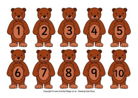 Teddy numbers card