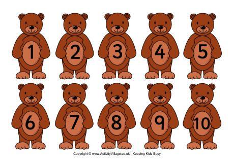 Teddy numbers card