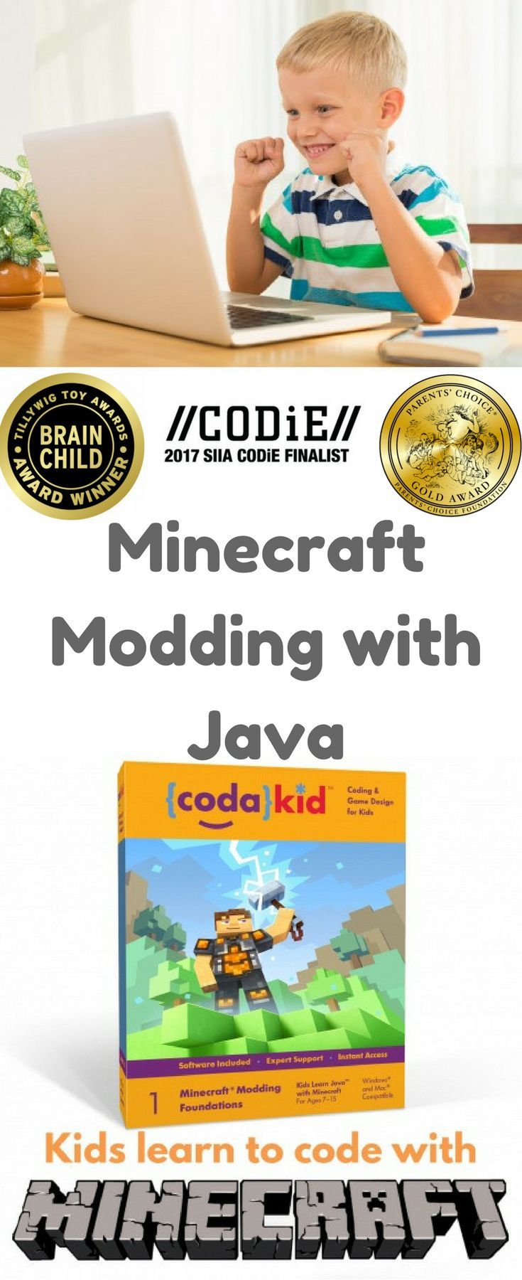 """Mod Creation: The Adventure Begins is an award-winning online Java programming course designed for ages 7 to 15. In this self-paced course, students will learn how to modify or """"mod"""" the source code of Minecraft while mastering coding concepts. Students create custom tools, armor, blocks, ores, biomes, and other creations. Teaches kids how to code independently using real coding languages and professional programming tools. #homeschool #ad"""