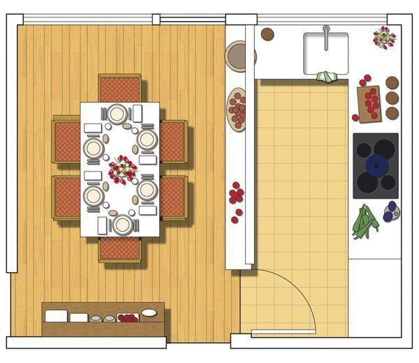 Una cocina abierta al comedor cocina abierta pinterest for Modelo de cocina abierta en el comedor