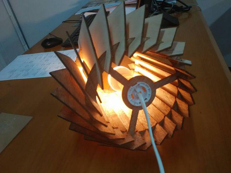 Wood Lasercut lamp by Kharis Riza. UPH, Despro 2013, Workshop 2, UTS
