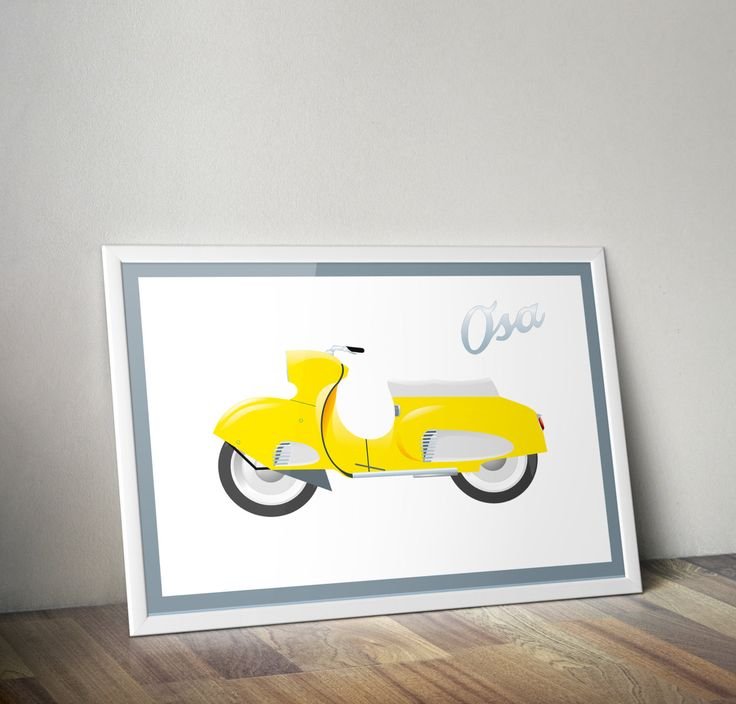 Scooter OSA poster, printable poster, digital image, boy room decor, planner clipart, garage decor, vehicle clipart, transport clipart by DigiFrog on Etsy