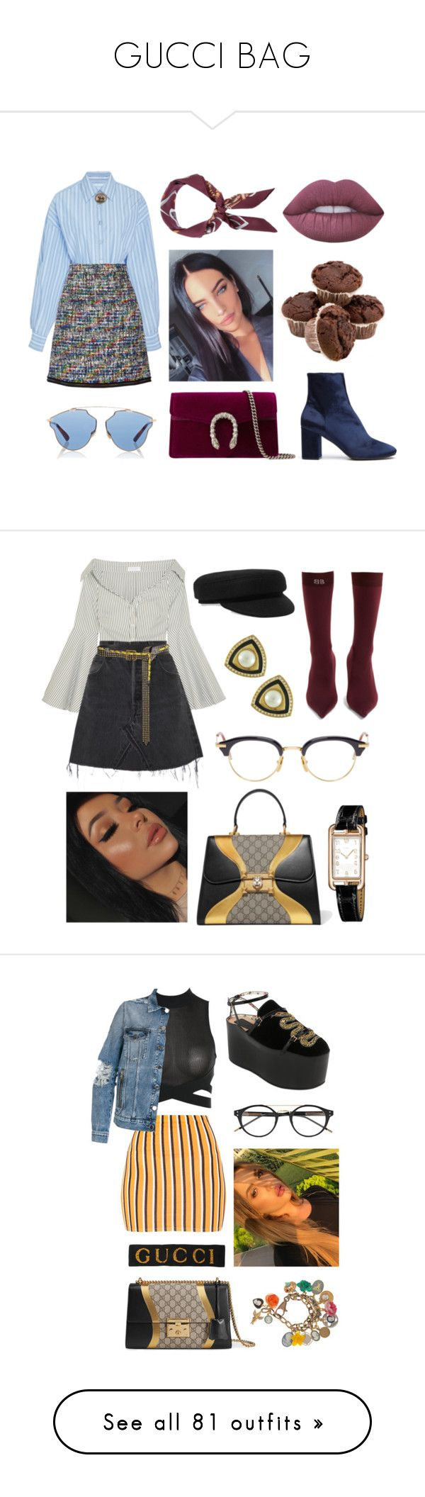 """GUCCI BAG"" by denisaalexandraa ❤ liked on Polyvore featuring Rosetta Getty, Christian Dior, Gucci, Boutique Moschino, Balenciaga, Ralph Lauren Blue Label, Lime Crime, Caroline Constas, RE/DONE and Isabel Marant"