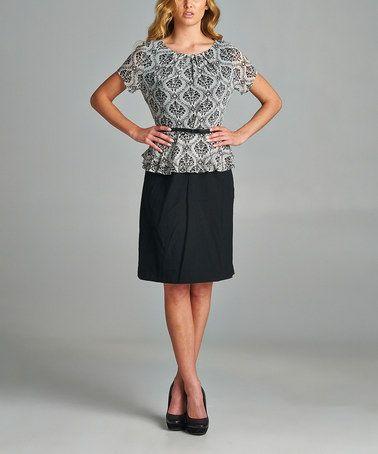Love this Black & White Brocade Belted Peplum Dress on #zulily! #zulilyfinds