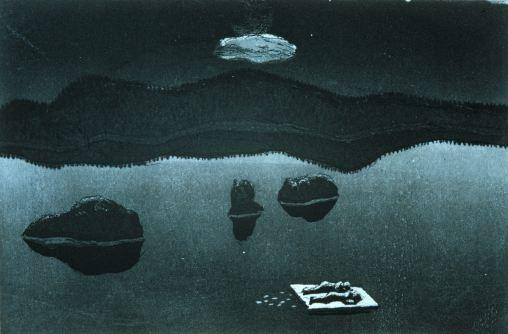 Heiskanen, Outi: Lautta (Raft), 1976. Etching, aquatint. Photo: The Gallen-Kallela Museum